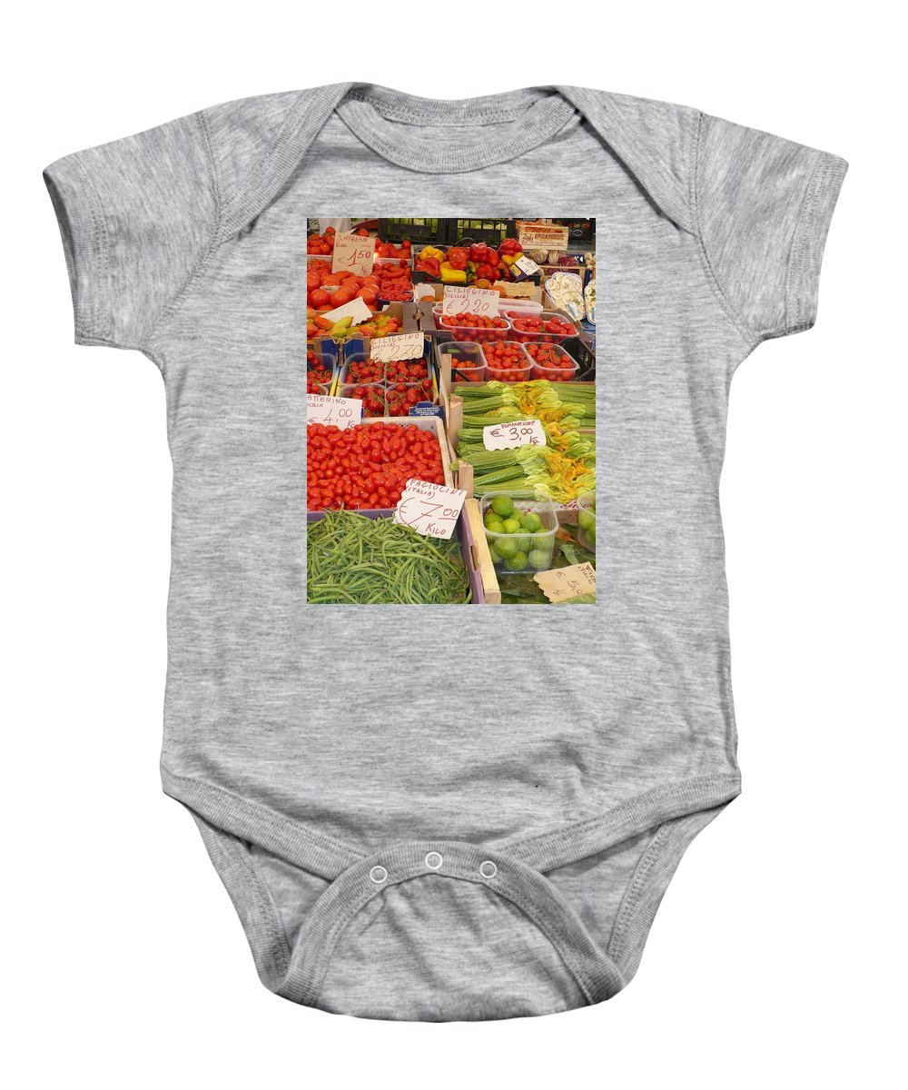 European Markets Baby Onesie featuring the photograph Vegetables At Italian Market by Carol Groenen