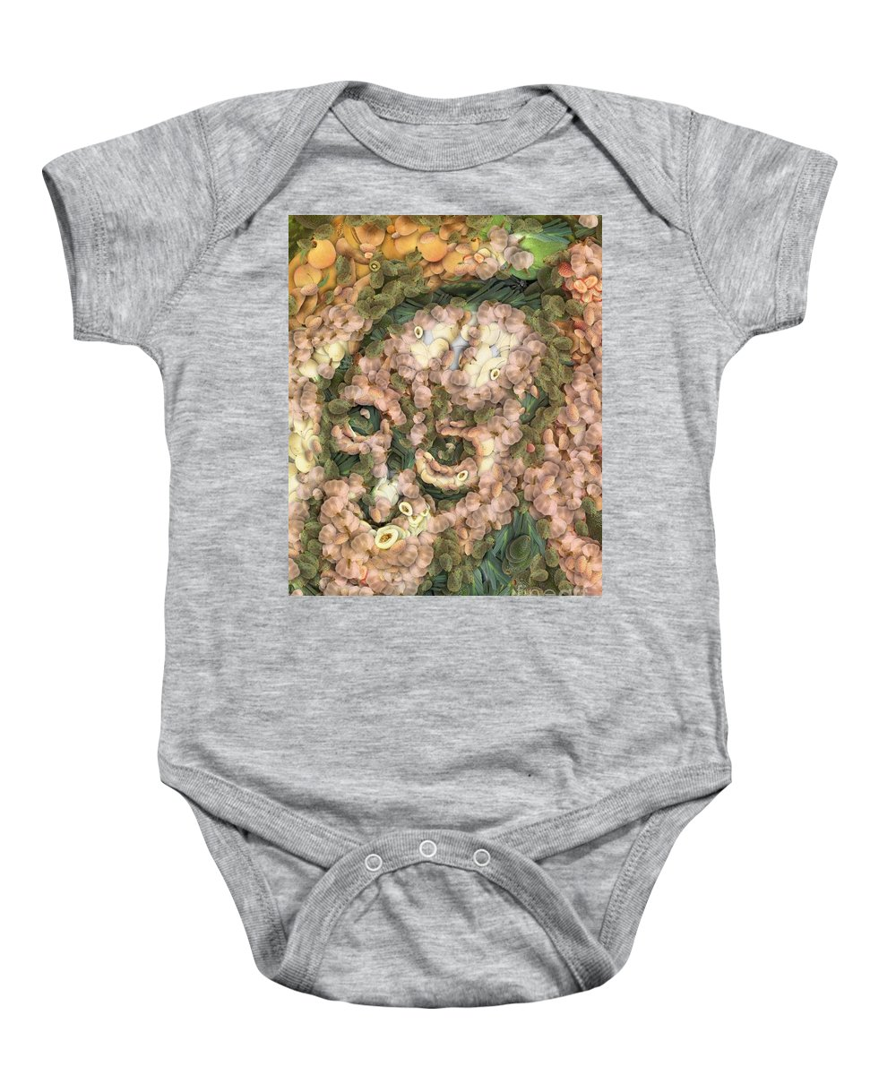 Vegged Out Monkey Baby Onesie featuring the painting Vegged Out Monkey by Catherine Lott