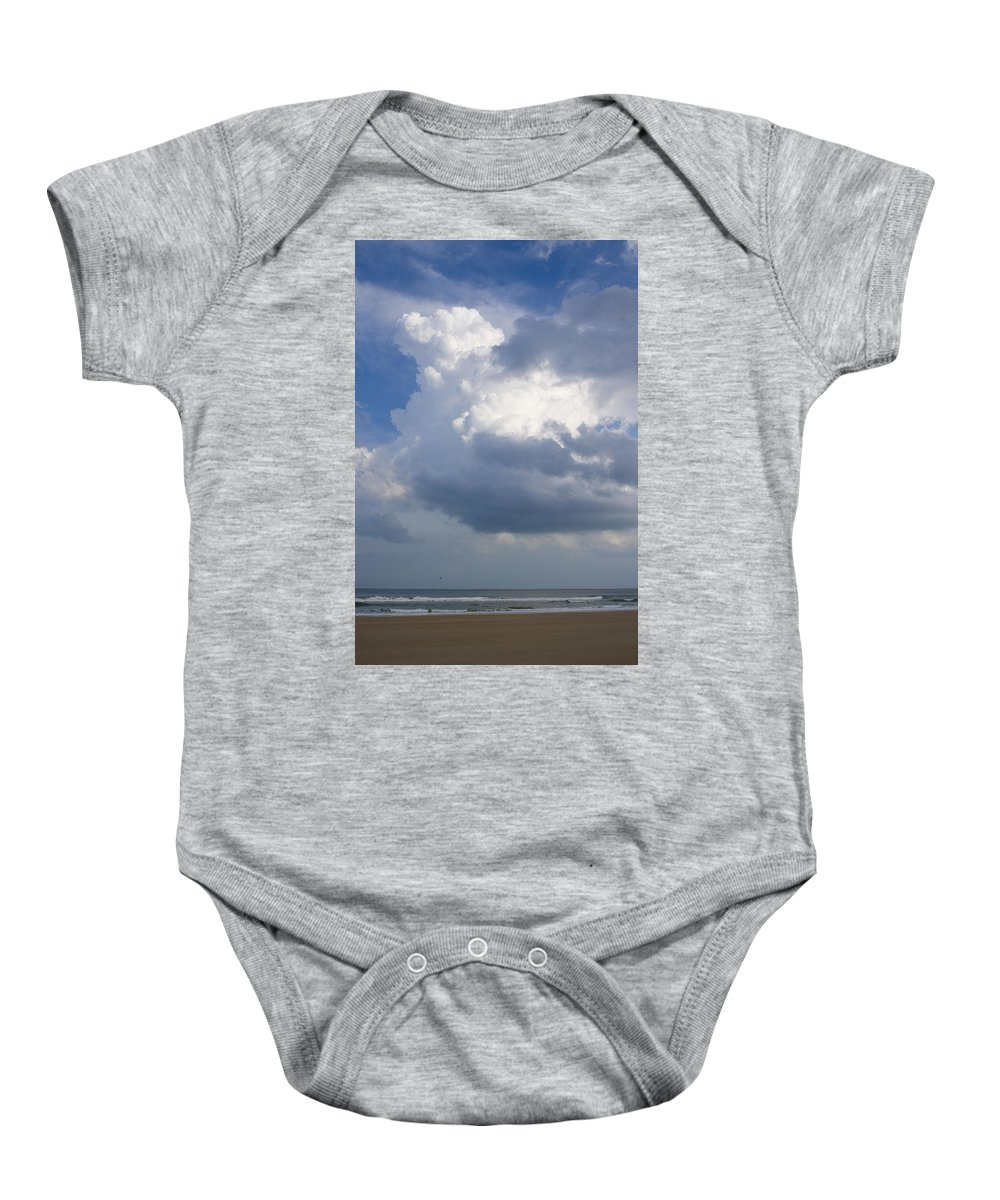 Ocean Nature Beach Sand Wave Water Sky Cloud White Bright Big Sun Sunny Vacation Relax Blue Baby Onesie featuring the photograph Vessels In The Sky by Andrei Shliakhau