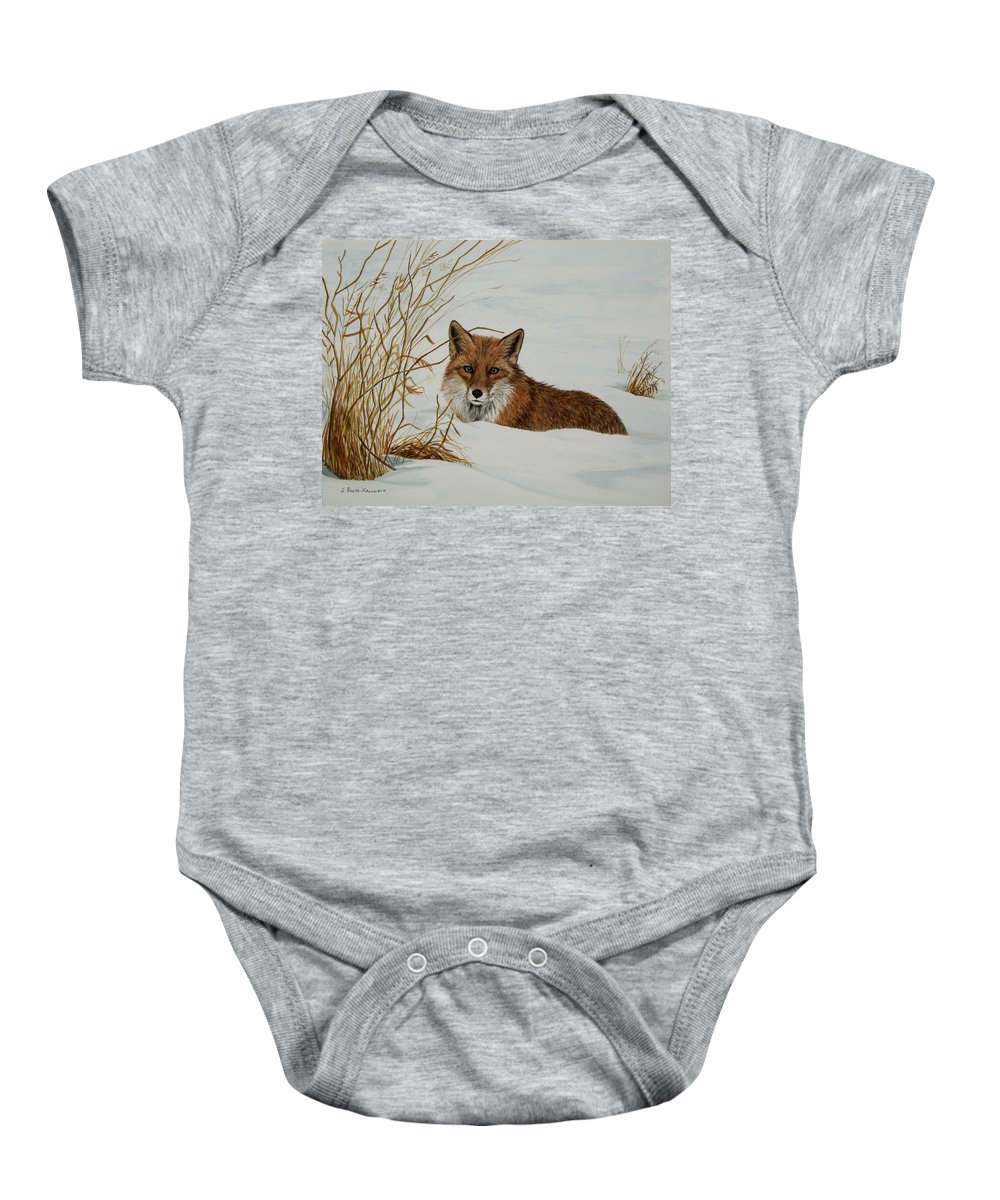 Wildlife Baby Onesie featuring the painting Vexed Vixen - Red Fox by Elaine Booth-Kallweit
