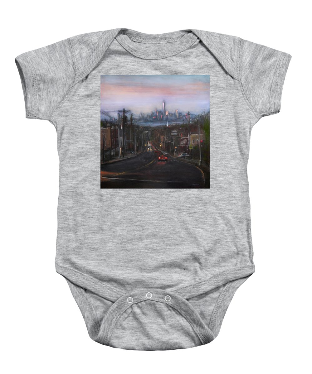 Manhattan Skyline Baby Onesie featuring the painting Victory Boulevard At Dusk by Sarah Yuster