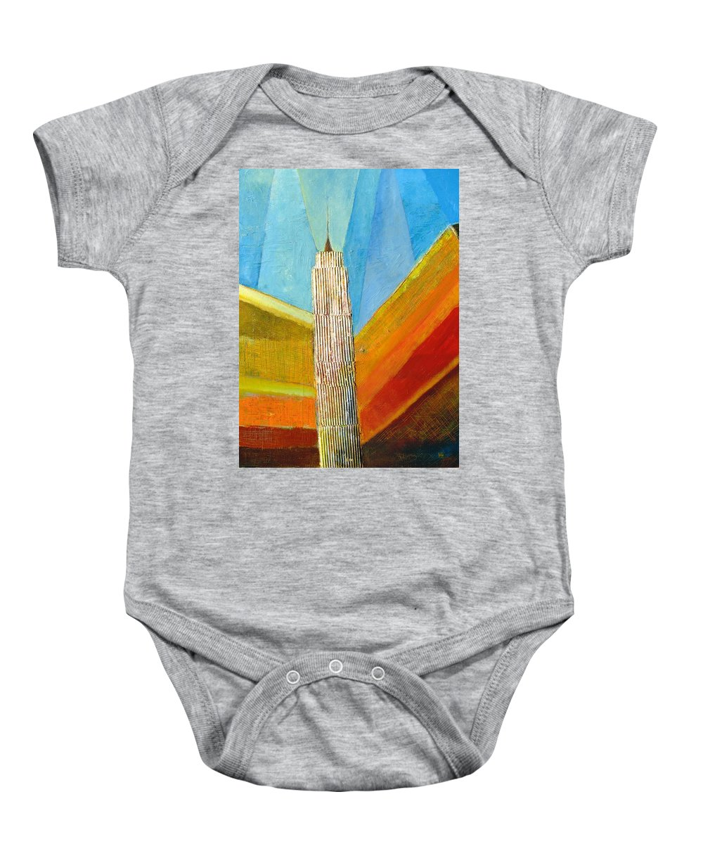 Abstract Cityscape Baby Onesie featuring the painting View From 34th St by Habib Ayat