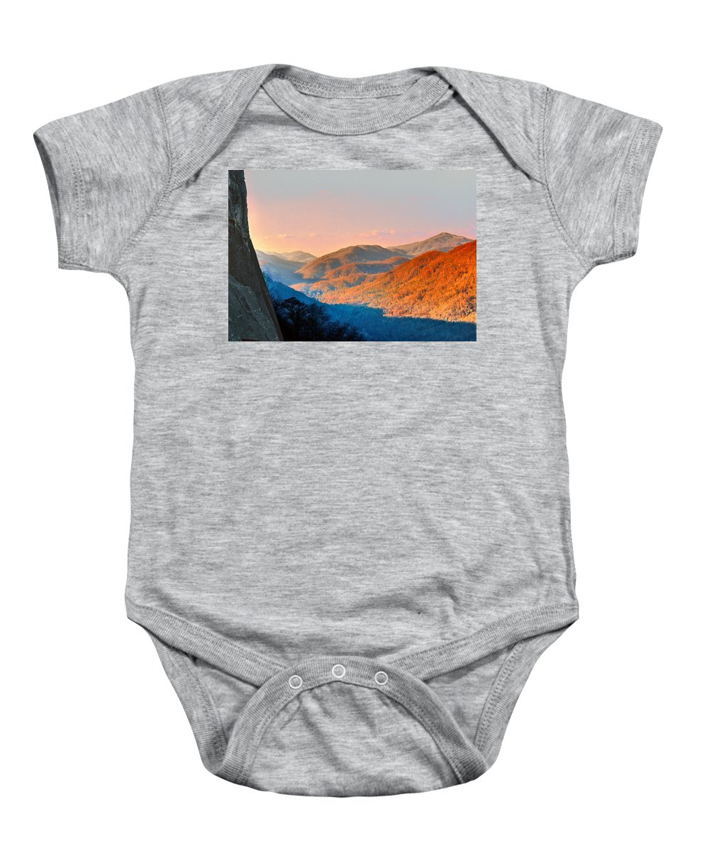 Landscape Baby Onesie featuring the photograph View From Chimney Rock-north Carolina by Steve Karol