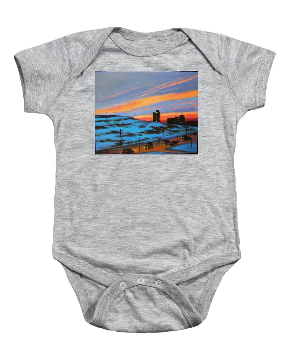 City At Night Baby Onesie featuring the painting View From My Balcony by John Malone