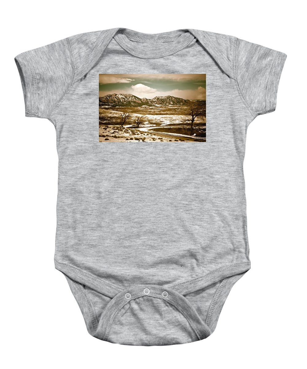 Landscape Baby Onesie featuring the photograph Flatironsview From Superior by Marilyn Hunt