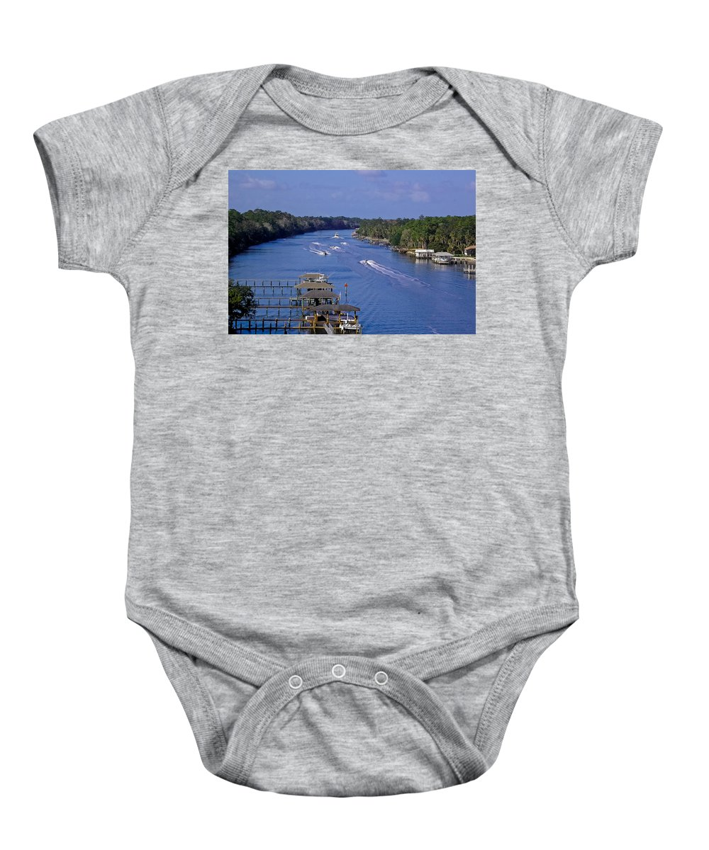River Baby Onesie featuring the photograph View From The Bridge Of Lions by DigiArt Diaries by Vicky B Fuller
