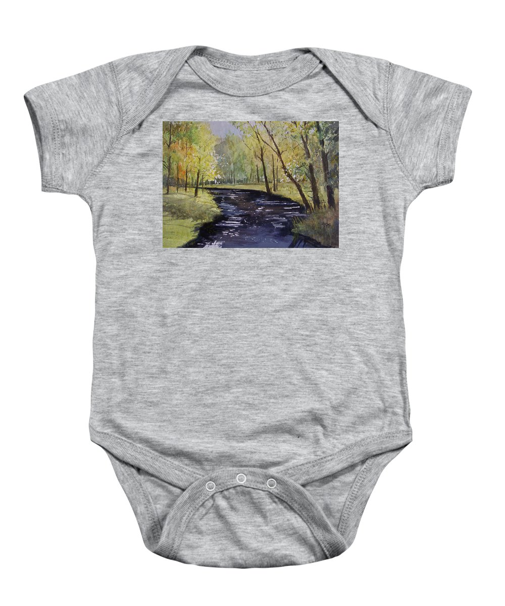 Watercolor Baby Onesie featuring the painting View From The Covered Bridge by Ryan Radke