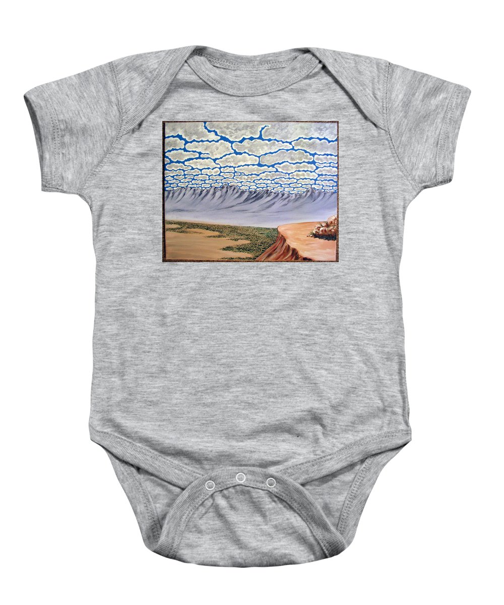 Desertscape Baby Onesie featuring the painting View From The Mesa by Marco Morales