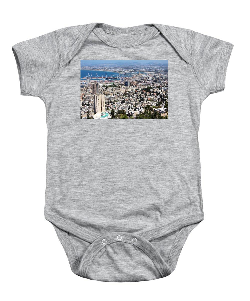 Haifa Baby Onesie featuring the photograph View Of Haifa by Munir Alawi