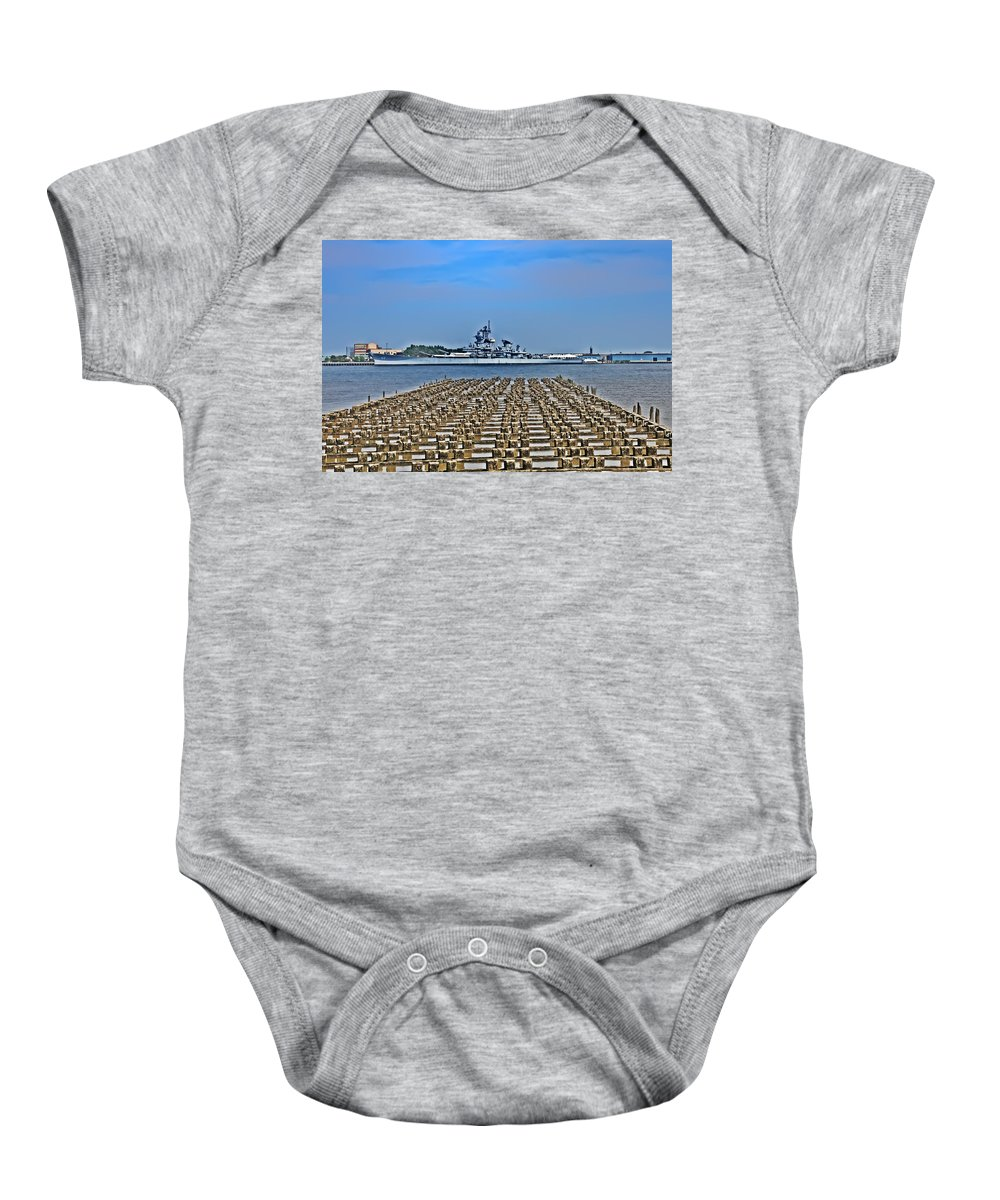 Battleship Baby Onesie featuring the photograph View Of The Battleship New Jersey From Philadelphia by Bill Cannon