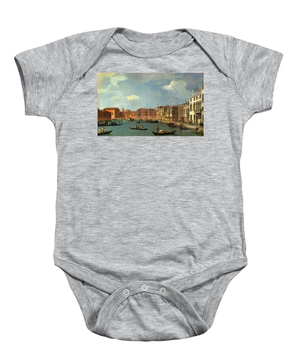 View Of The Canal Of Santa Chiara Baby Onesie featuring the painting View Of The Canal Of Santa Chiara by Canaletto