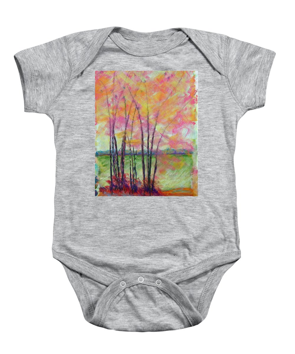 Edison Baby Onesie featuring the painting View Through Bamboo by Laurie Paci