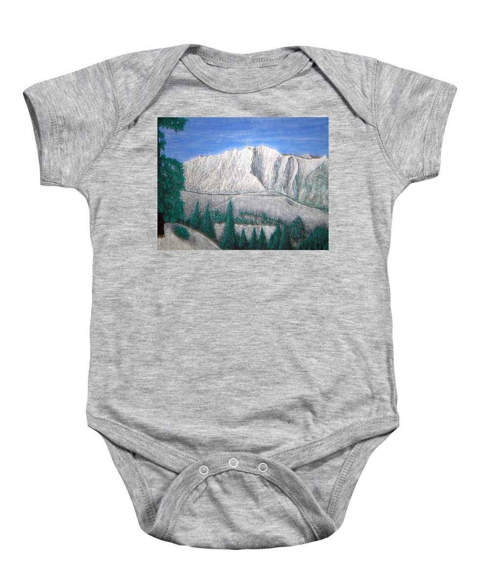 Snow Baby Onesie featuring the painting Viewfrom Spruces by Michael Cuozzo