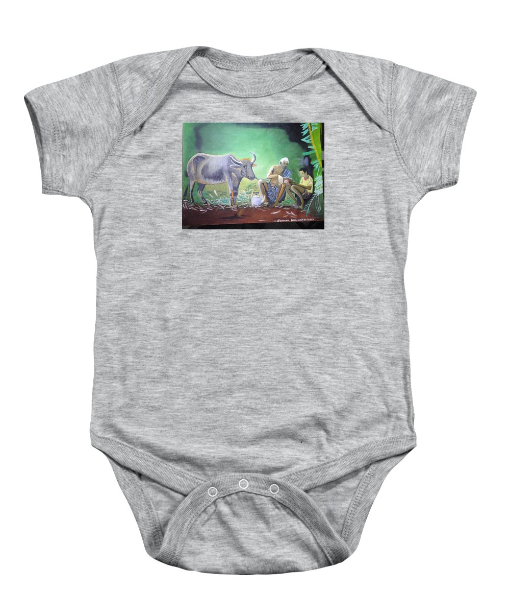 Village Life Baby Onesie featuring the painting Village Life by Suresh Krishnaswamy