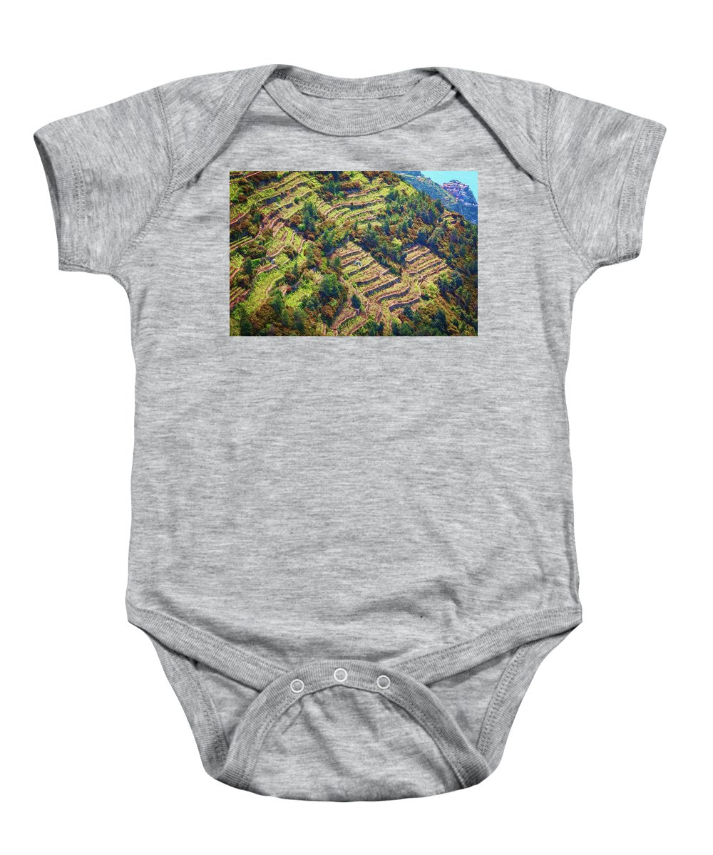 Joan Carroll Baby Onesie featuring the photograph Vineyard Terraces Cinque Terre Italy by Joan Carroll