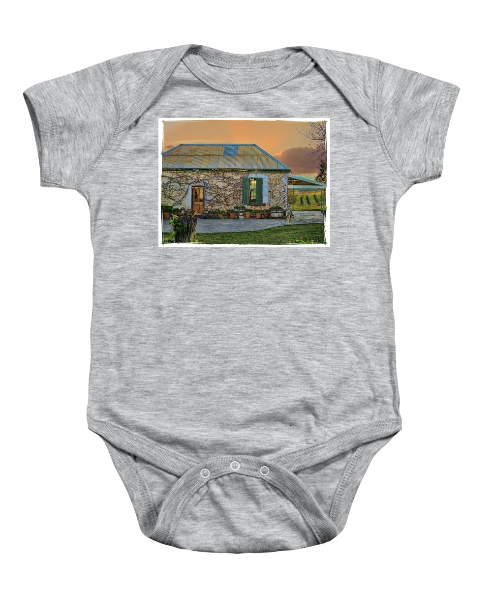 Cottage Baby Onesie featuring the photograph Vino Cottage by Douglas Barnard
