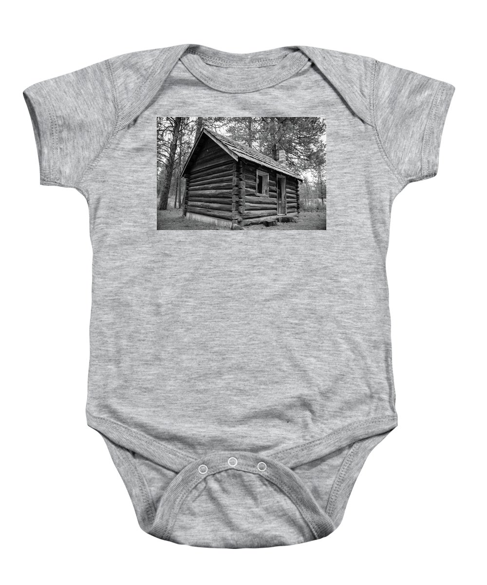 Old Log Cabin Baby Onesie featuring the photograph Vintage Farm House by Dave Hill