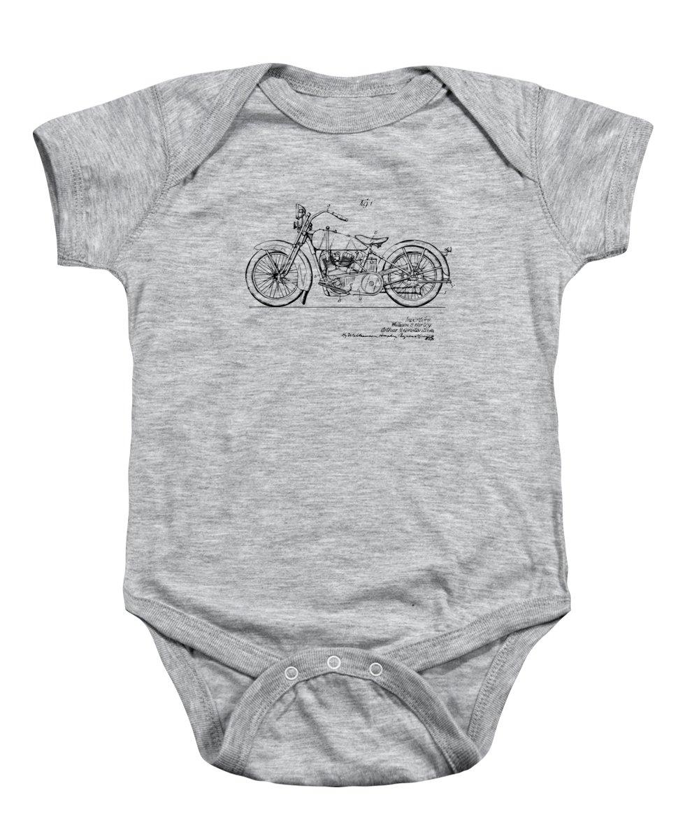 949340c7 Vintage Harley-davidson Motorcycle 1928 Patent Artwork Onesie for Sale by Nikki  Smith
