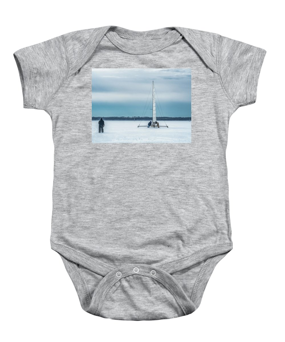 Lake Geneva Baby Onesie featuring the photograph Vintage Ice Boat by Kristine Hinrichs