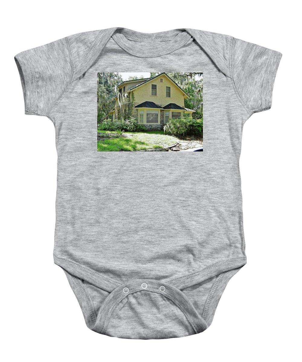 Chert Baby Onesie featuring the photograph Vintage Limestone House by D Hackett