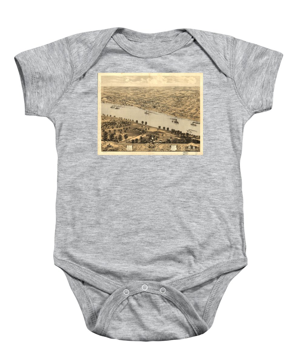 Jefferson City Baby Onesie featuring the drawing Vintage Pictorial Map Of Jefferson City Mo - 1869 by CartographyAssociates