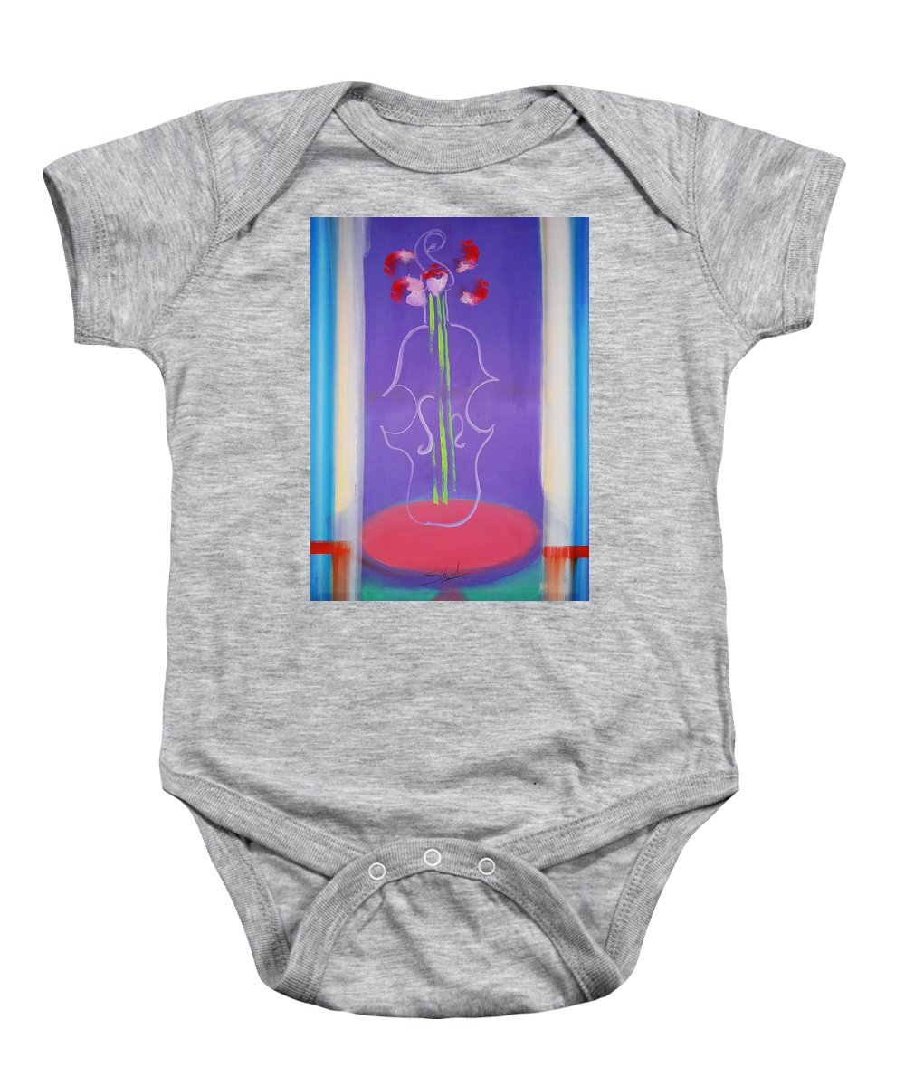 Violin Baby Onesie featuring the painting Violin Vase by Charles Stuart