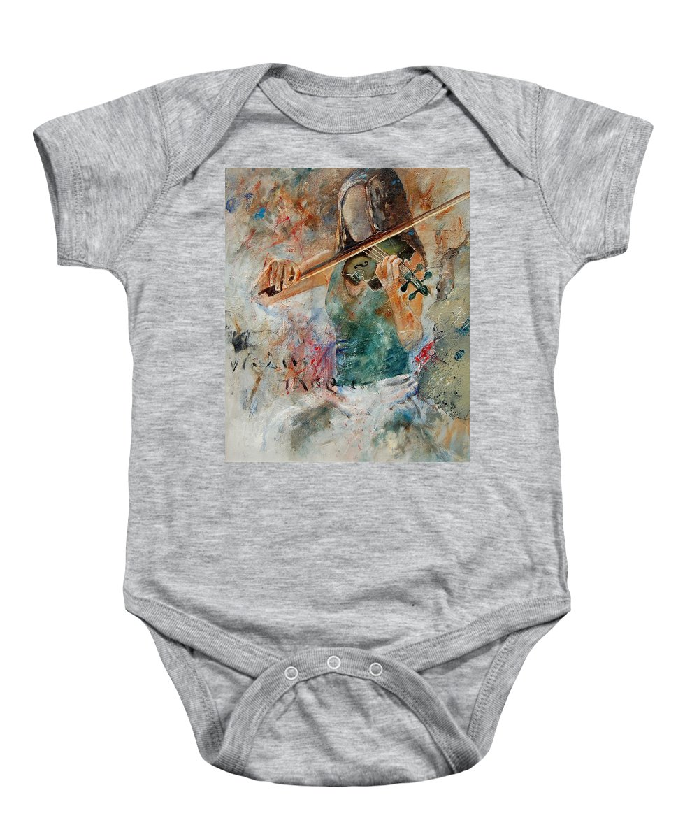 Music Baby Onesie featuring the painting Violinist 56 by Pol Ledent