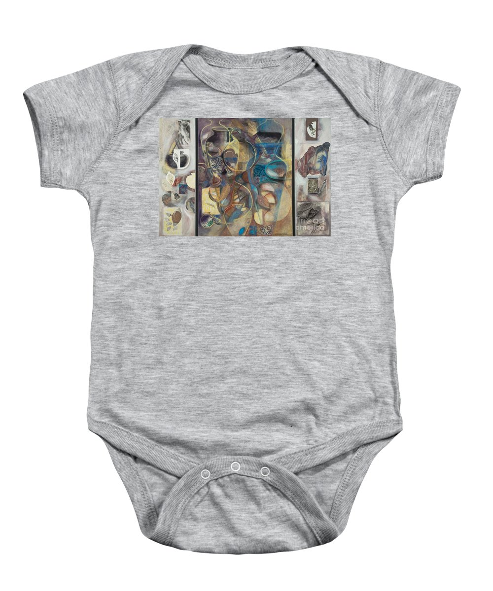 Vessels Baby Onesie featuring the painting Visible Traces by Kerryn Madsen-Pietsch