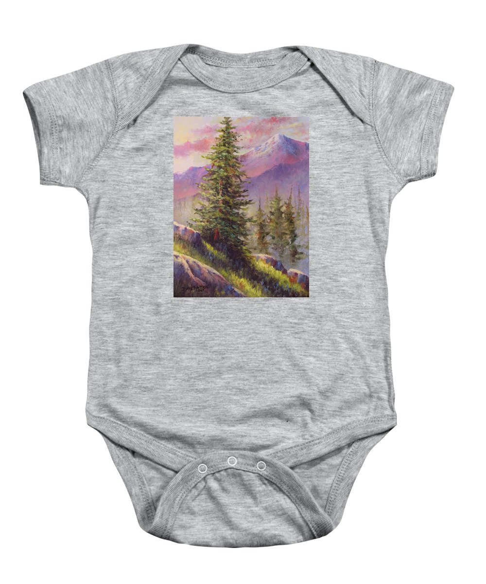 Mountain Baby Onesie featuring the painting Vista View by David G Paul