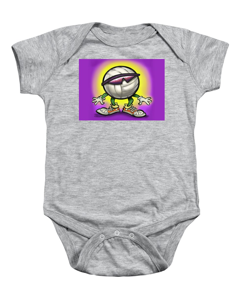 Volleyball Baby Onesie featuring the greeting card Volleyball by Kevin Middleton