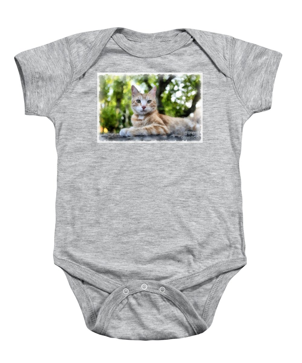 Cat Baby Onesie featuring the painting Volterra Italy Cat Watercolor by Edward Fielding