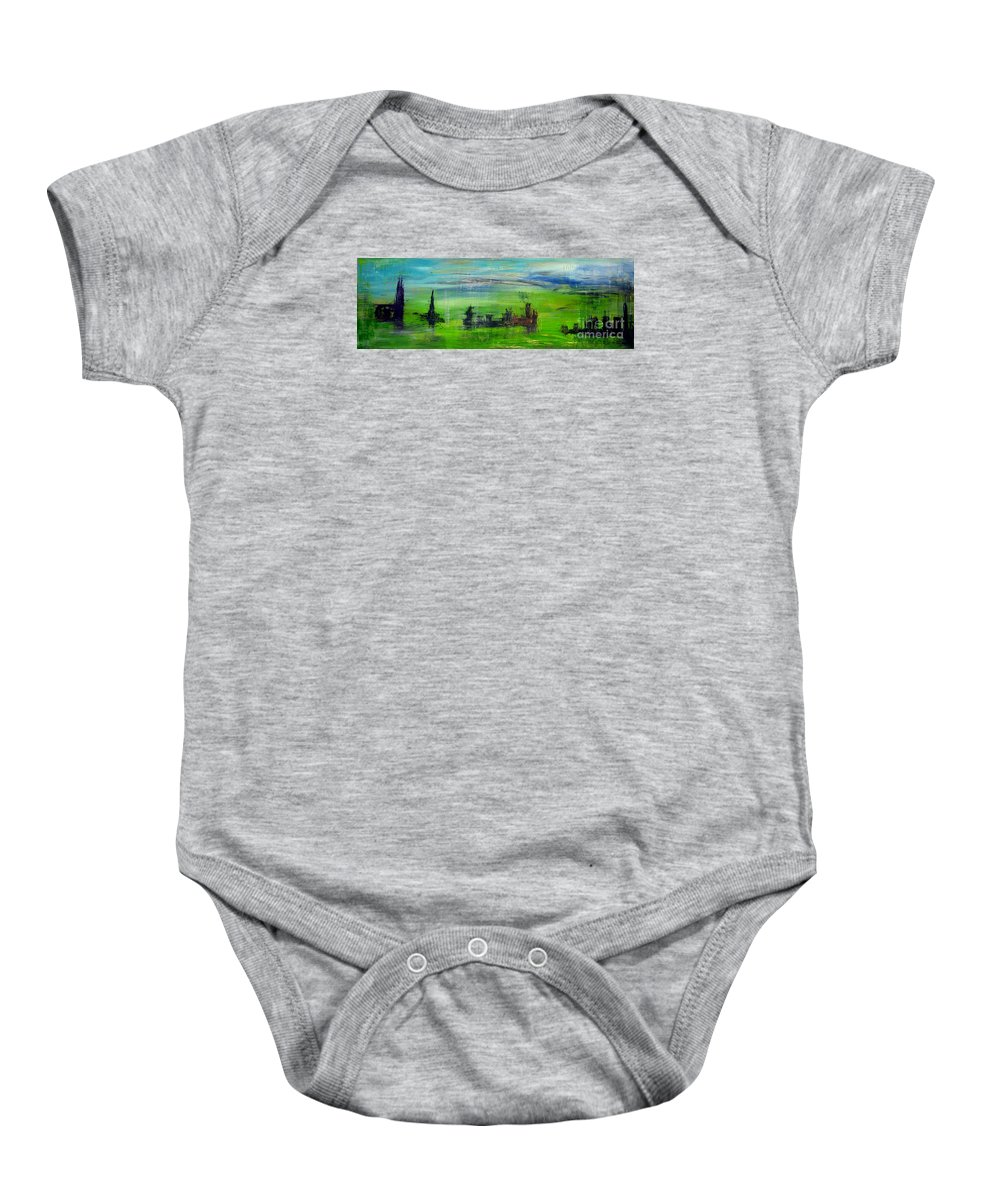 Clouds Baby Onesie featuring the painting W74 - Utopia by Kunst mit Herz Art with Heart