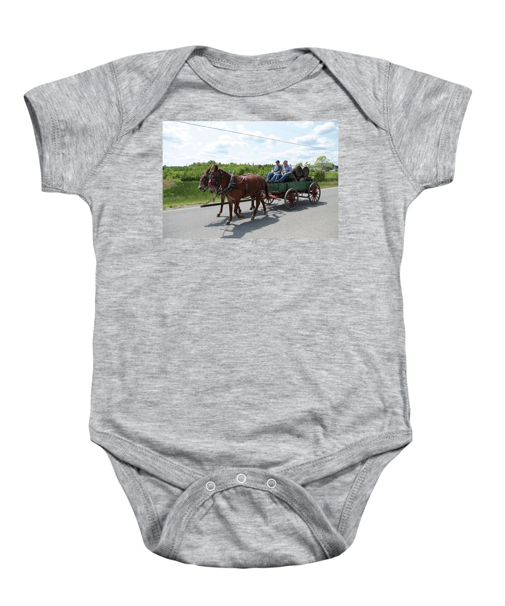 Mule Baby Onesie featuring the photograph Wagon 12 by Dwight Cook