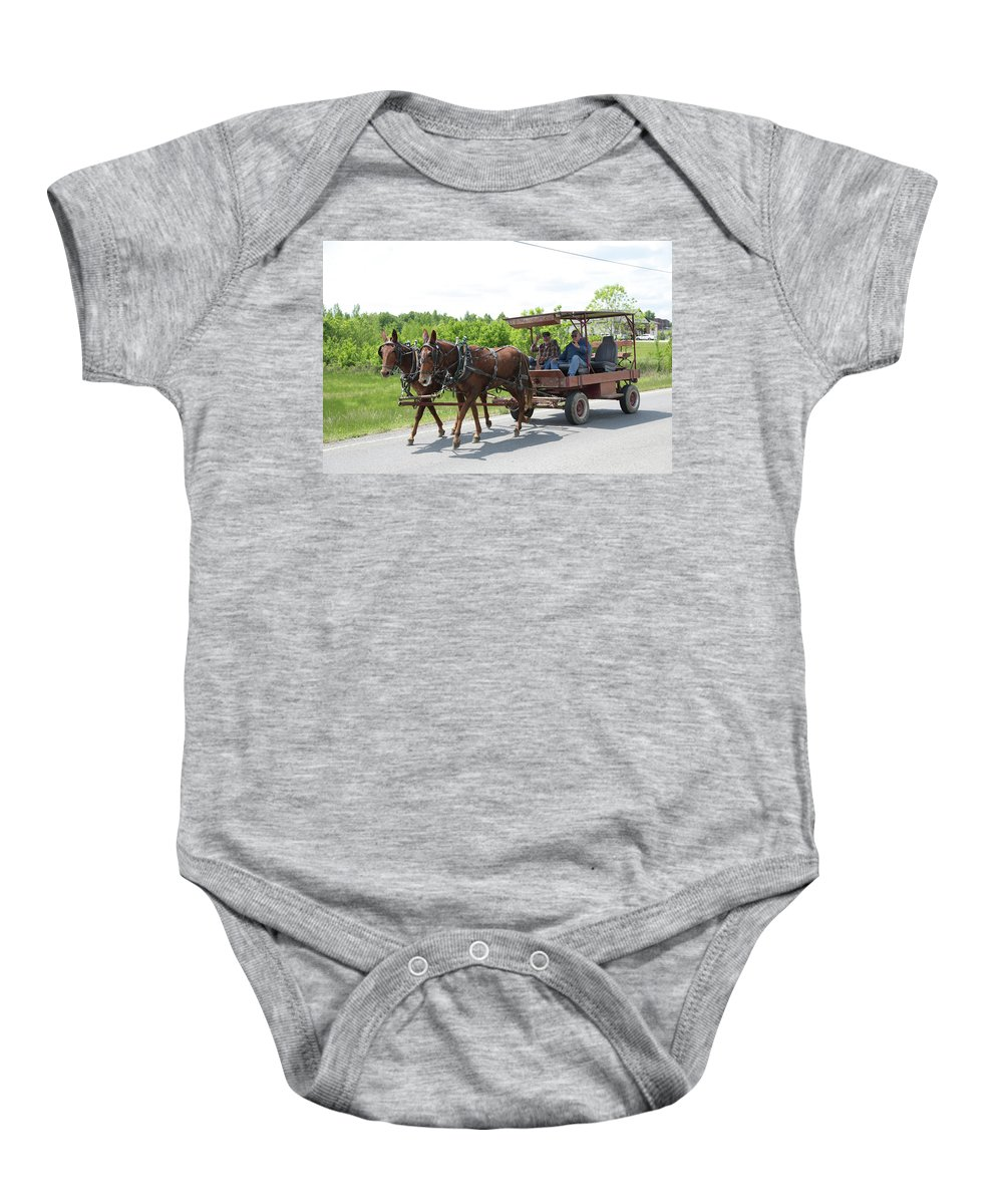 Mule Baby Onesie featuring the photograph Wagon 8 by Dwight Cook