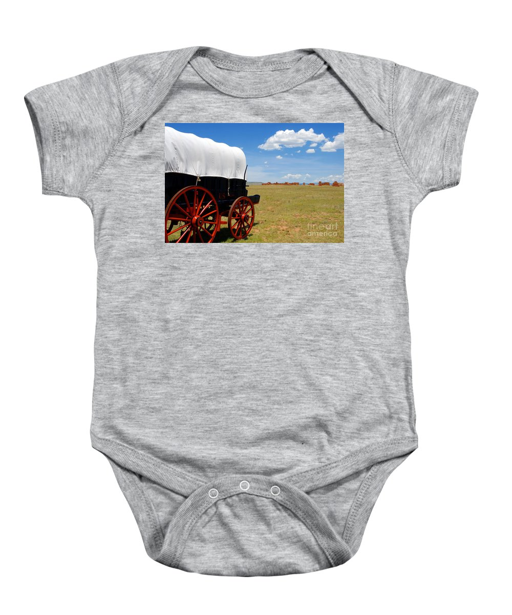 Fort Union New Mexico Baby Onesie featuring the photograph Wagon At Old Fort Union by David Lee Thompson