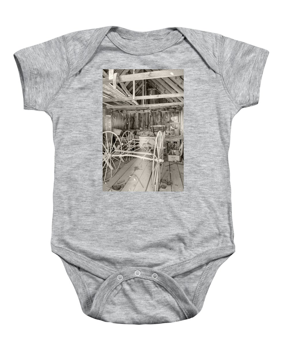 Bodie Baby Onesie featuring the photograph Wagon Repair by Ricky Barnard