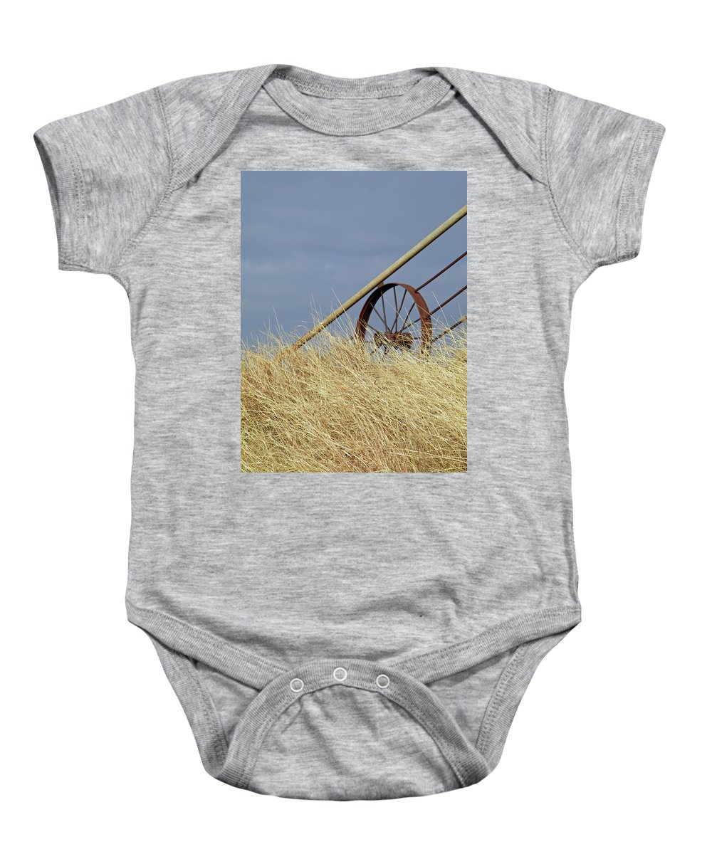 Wagon Wheel Baby Onesie featuring the photograph Wagon Wheel Fence by Gale Cochran-Smith