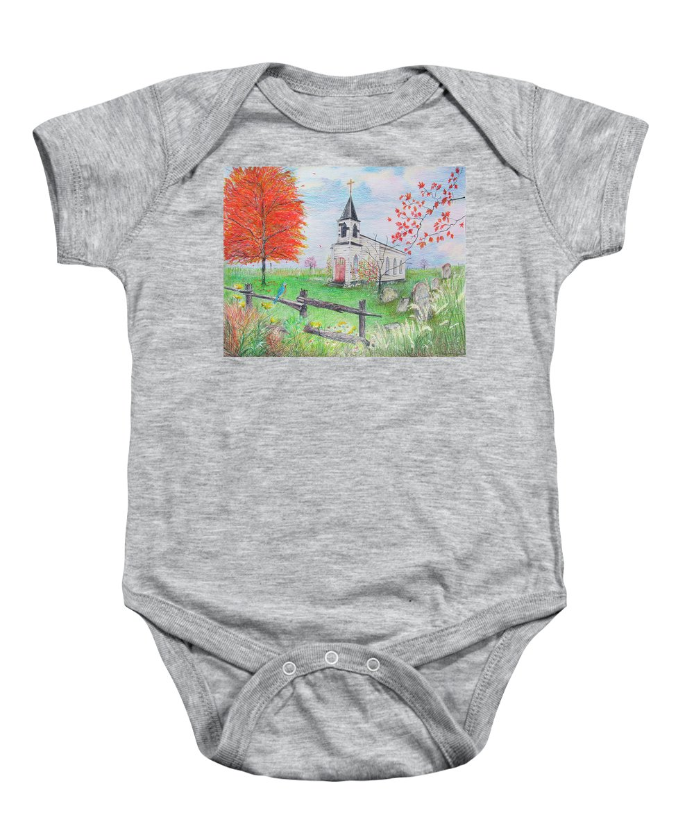 Spiritual Baby Onesie featuring the drawing Waiting by Becky Brooks