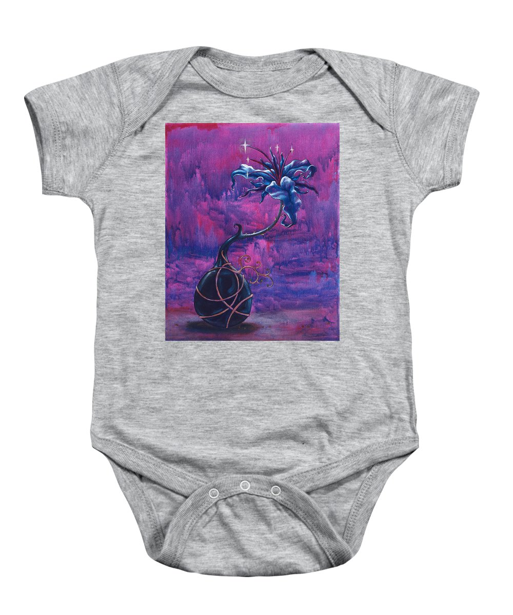 Lily Baby Onesie featuring the painting Waiting Flower by Jennifer McDuffie