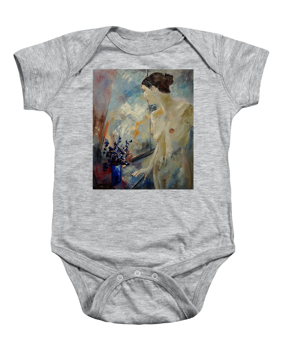 Girl Baby Onesie featuring the painting Waiting For Her Lover by Pol Ledent