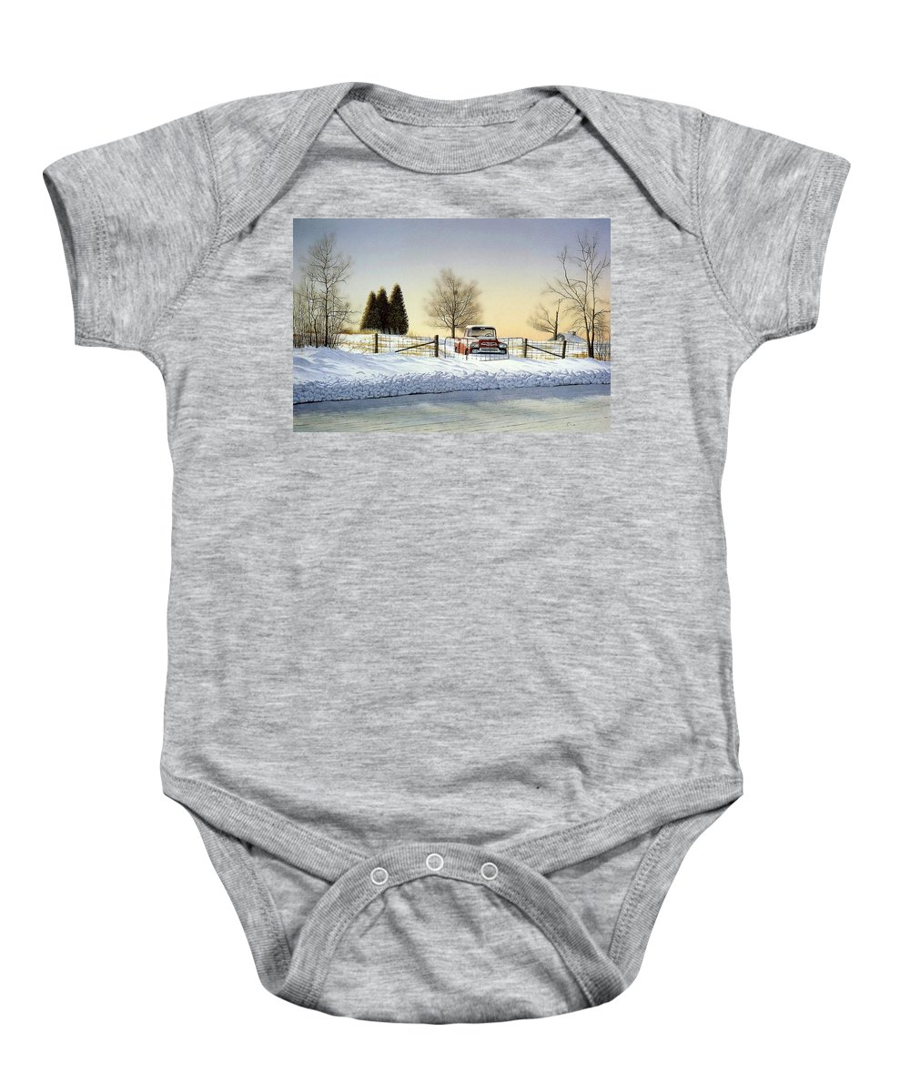 Landscape Baby Onesie featuring the painting Waiting For Spring by Conrad Mieschke