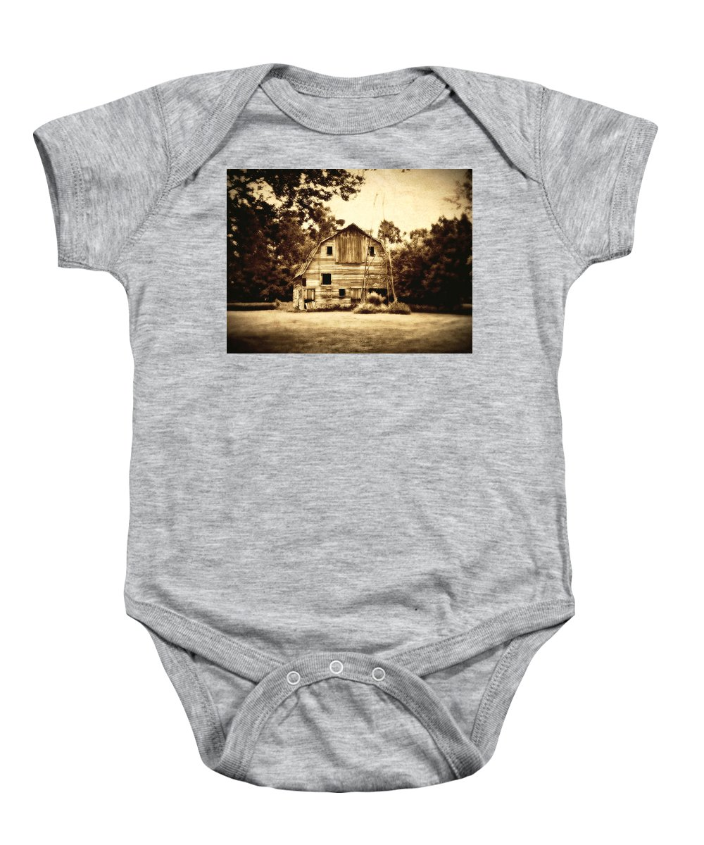 Barn Baby Onesie featuring the photograph Waiting by Julie Hamilton