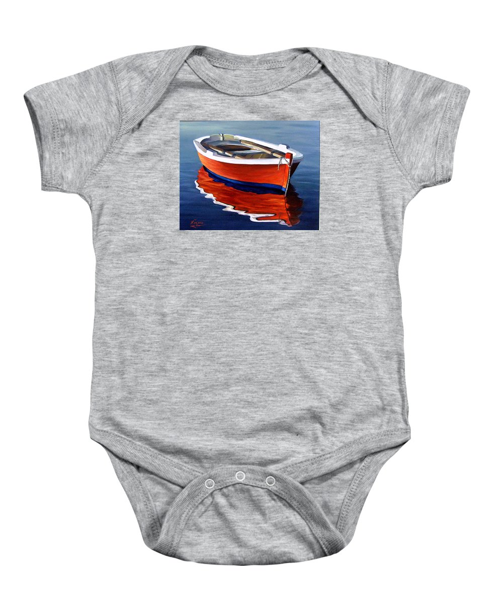 Seascape Water Boat Reflection Ocean Sea Baby Onesie featuring the painting Waiting by Natalia Tejera