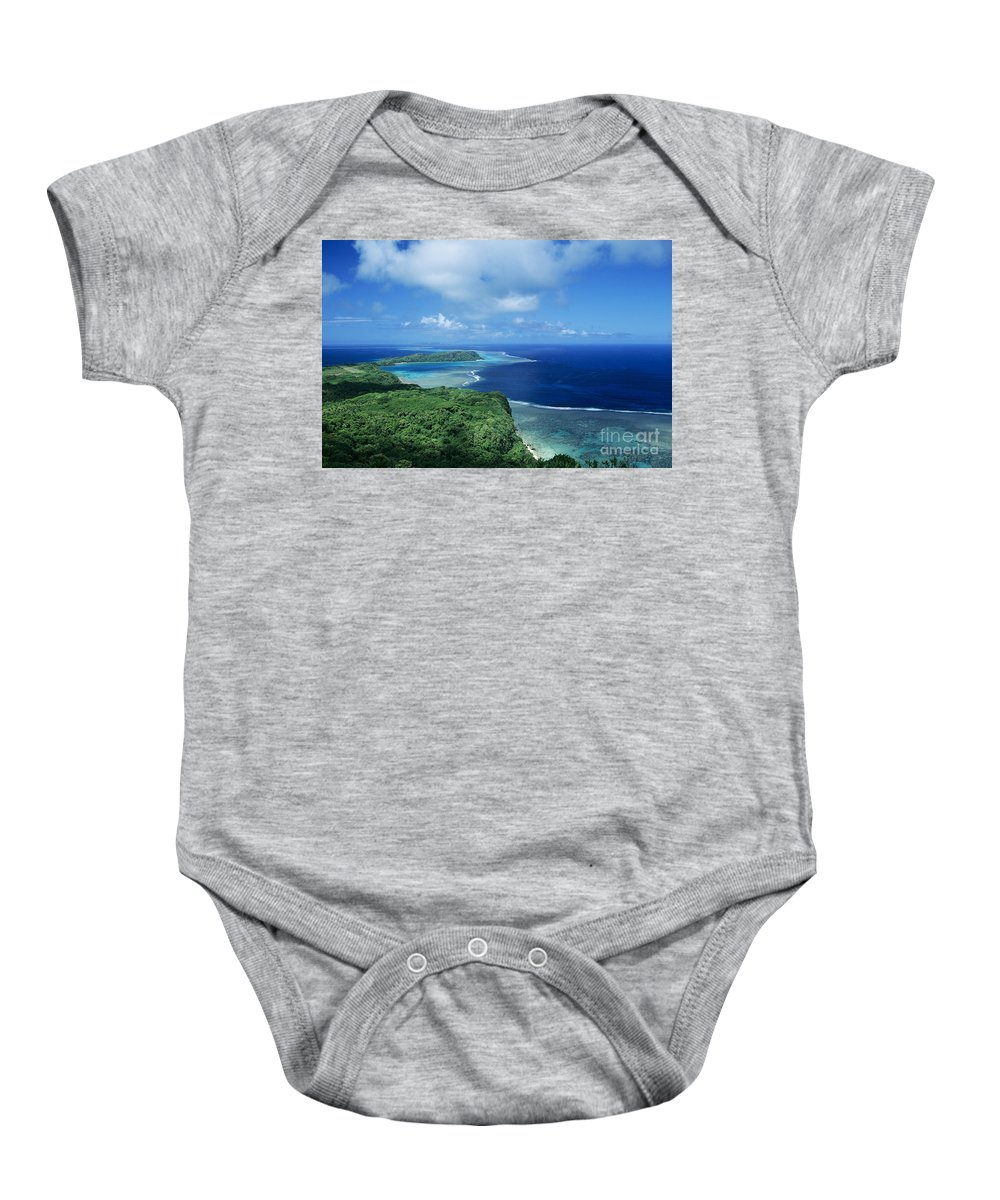 Aerial Baby Onesie featuring the photograph Wakaya Coastline by Larry Dale Gordon - Printscapes