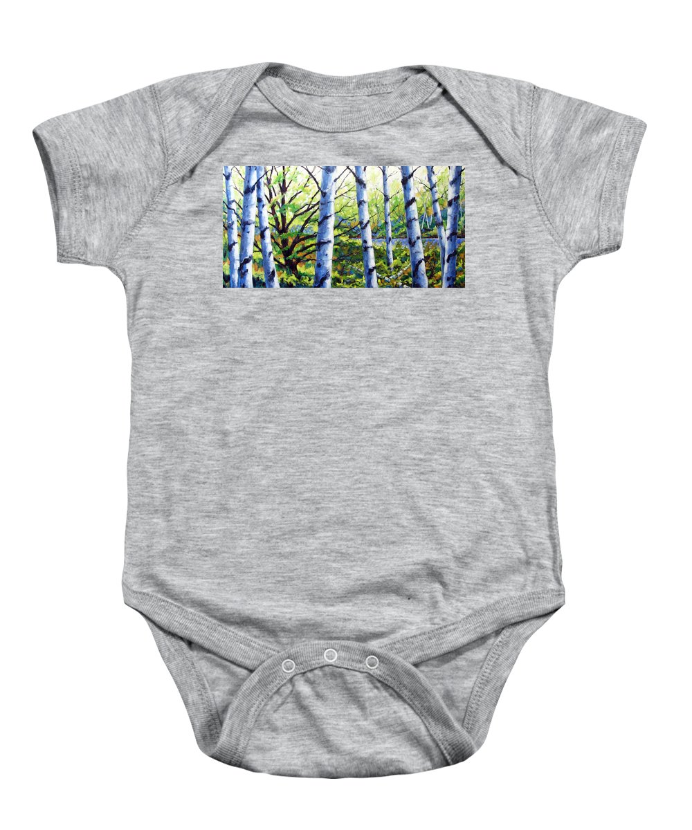 Lake Baby Onesie featuring the painting Walk To The Lake by Richard T Pranke
