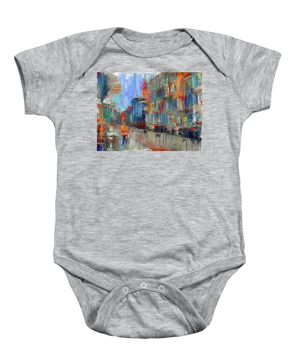 Old Baby Onesie featuring the digital art Walking Down Street In Color Splash by Yury Malkov
