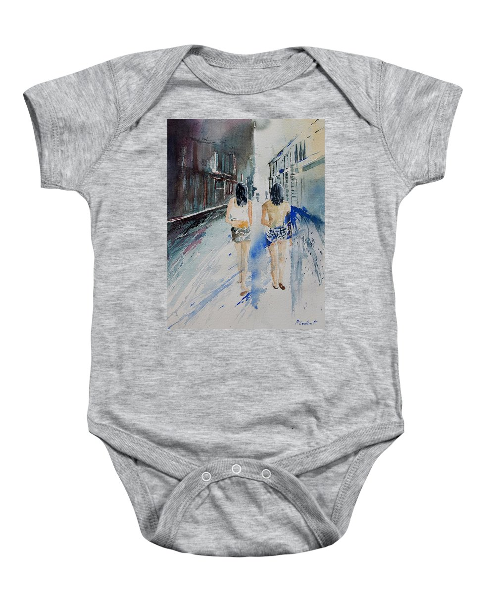 Girl Baby Onesie featuring the painting Walking In The Street by Pol Ledent