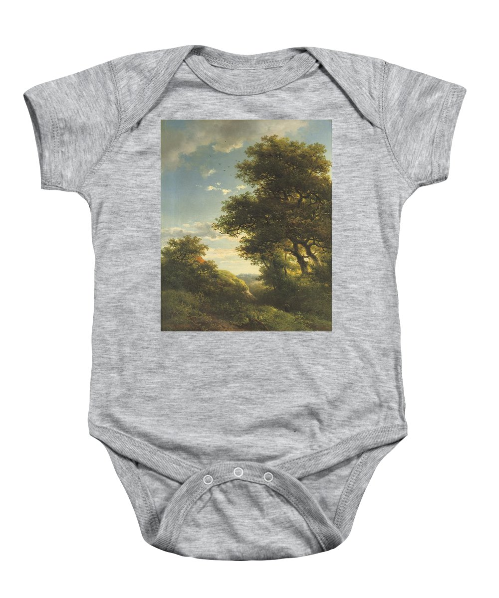 Walking Through The Forest Baby Onesie featuring the painting Walking Through The Forest by Willem Roelofs