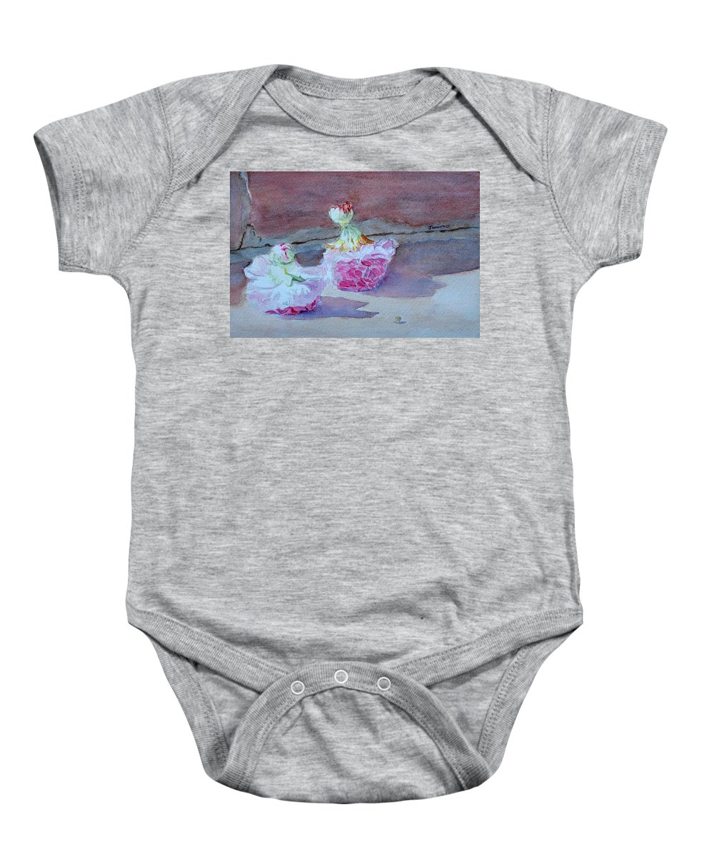Doolls Baby Onesie featuring the painting Wall Flowers by Jenny Armitage