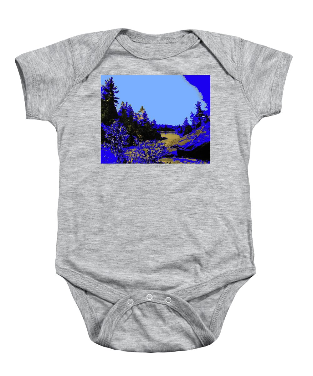 Northern Baby Onesie featuring the photograph Wanapitae River Morning by Ian MacDonald